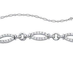 Jewelry - Round diamond oval style link bracelet solid gold